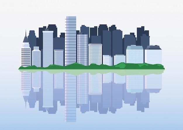 Paesaggio urbano con alti grattacieli