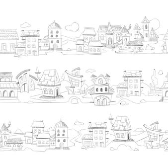 Paesaggio urbano con case doodle disegnato a mano