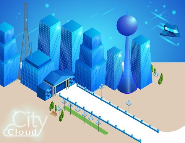 Paesaggio urbano con edifici e trasporti volanti