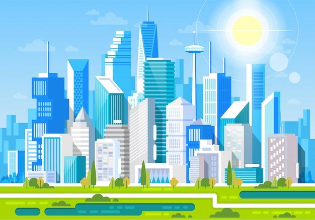 Paesaggio urbano con edifici. parchi e montagne delle case private. illustrazione del centro dell'ufficio
