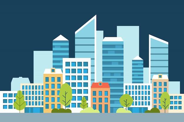 Paesaggio urbano con grandi e piccoli edifici e alberi e cespugli. modello di sito web di concetto in stile piano