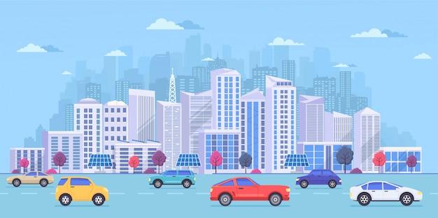 Paesaggio urbano con grandi edifici moderni