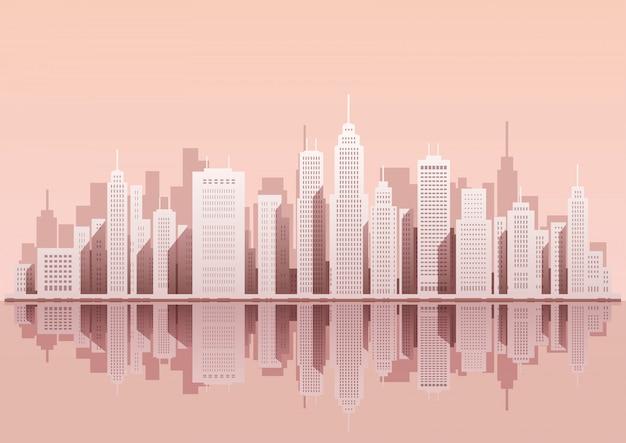 Paesaggio urbano con grattacieli, illustrazione vettoriale.