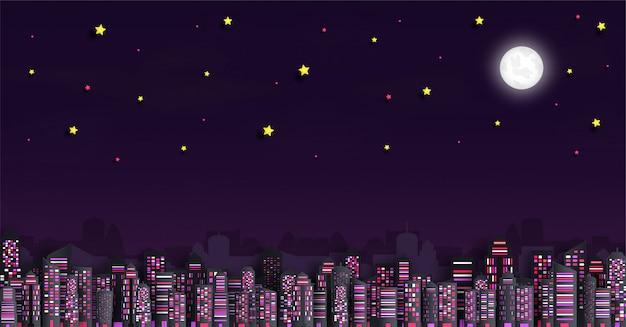 Paesaggio urbano con grattacieli nella notte