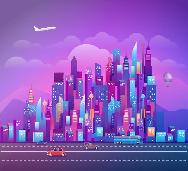 Paesaggio urbano con moderni grattacieli e veicoli