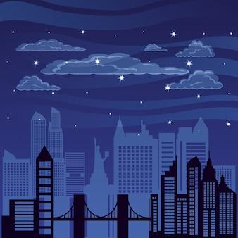 Paesaggio urbano con notte di scena di edifici