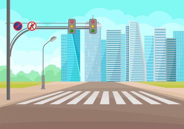 Paesaggio urbano con strada, strisce pedonali, segnali stradali e luci, grattacieli
