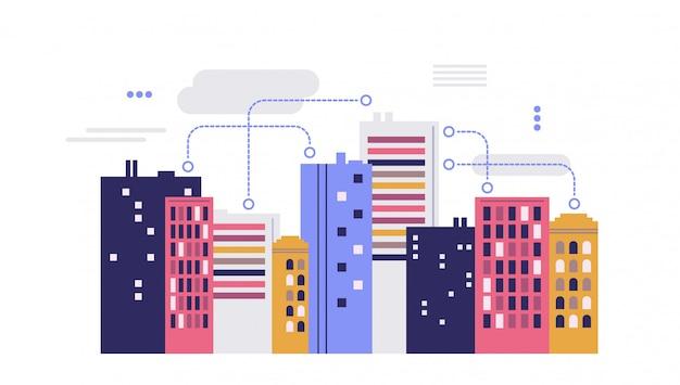 Paesaggio urbano. concetto di città intelligente.