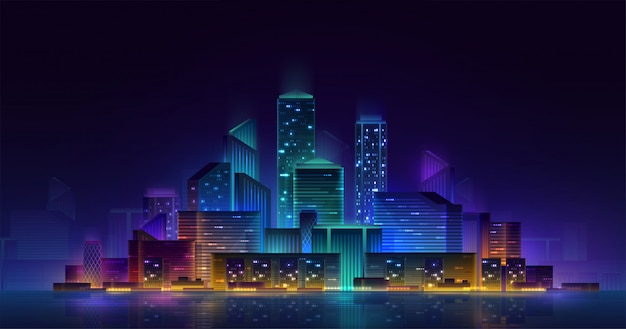 Paesaggio urbano d'ardore al neon 3d della città astuta. concetto futuristico di affari di notte di automazione dell'edificio intelligente. retrowave cyberpunk a colori vivaci online sul web.