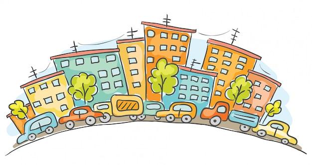 Paesaggio urbano del fumetto con automobili e case