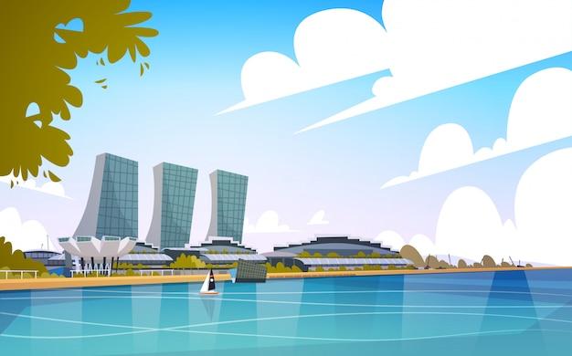 Paesaggio urbano dell'orizzonte del fondo del grattacielo di vista della città di singapore