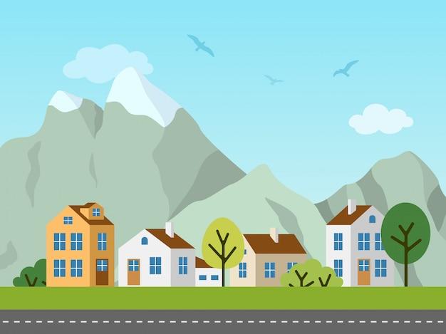 Paesaggio urbano della città, cottage e montagne