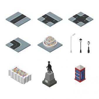 Paesaggio urbano di elementi isometrici