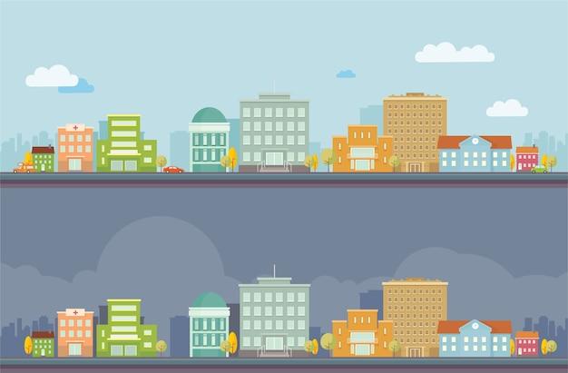 Paesaggio urbano di giorno e notte paesaggio vettoriale
