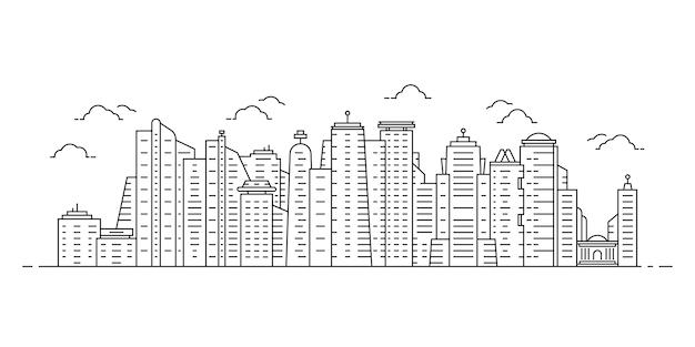 Paesaggio urbano di linea sottile nera con grattacieli