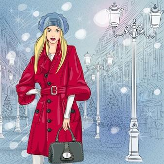 Paesaggio urbano di natale di inverno, bella ragazza alla moda sull'ampio viale con le costruzioni d'annata e le belle lanterne a san pietroburgo, russia
