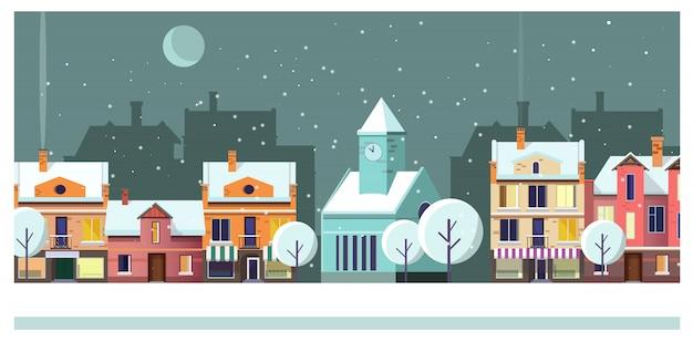 Paesaggio urbano di notte di inverno con le case e l'illustrazione della luna
