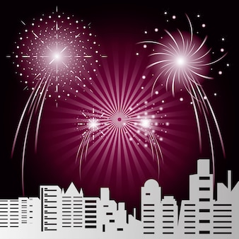 Paesaggio urbano di scena con fuochi d'artificio
