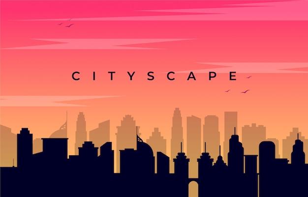 Paesaggio urbano di silhouatte