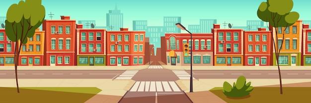 Paesaggio urbano di strada, crocevia, semafori