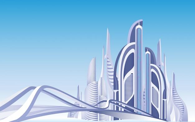 Paesaggio urbano diurno della città urbana futuristica di vista.