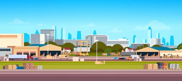 Paesaggio urbano internazionale di concetto di trasporto del magazzino di caricamento del camion delle azione di consegna terminale della rete di logistica globale