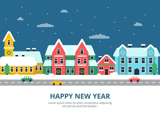 Paesaggio urbano invernale. notte delle costruzioni della città del tetto di snowy con le illustrazioni della città di festa di natale dei fiocchi di neve