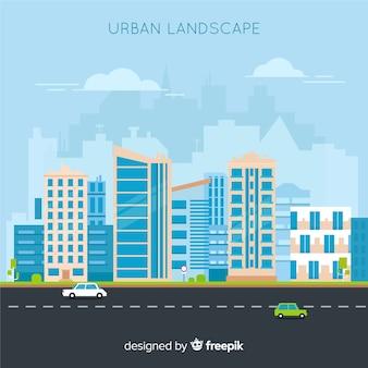 Paesaggio urbano moderno con design piatto