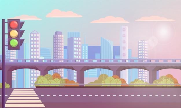 Paesaggio urbano moderno con strada vuota, strisce pedonali
