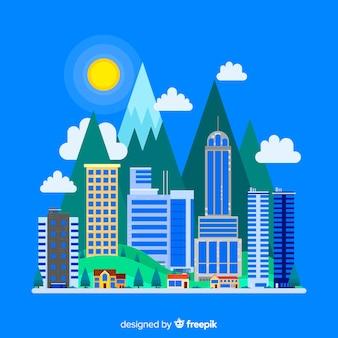 Paesaggio urbano piatto con edifici per uffici