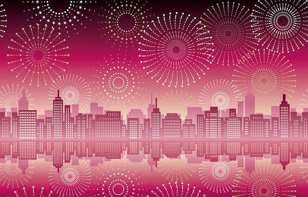 Paesaggio urbano senza cuciture con fuochi d'artificio
