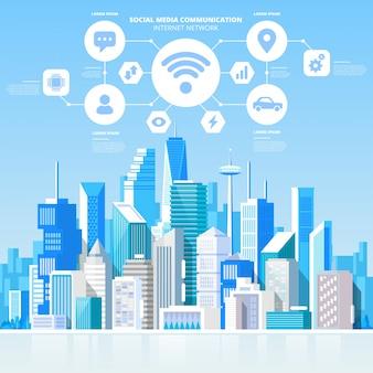 Paesaggio urbano sociale di vista del grattacielo della città della connessione di rete internet di comunicazione di media