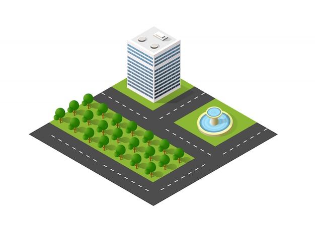Paesaggio urbano urbano della città del blocco del modulo