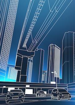 Paesaggio urbano urbano moderno con grattacieli e automobili