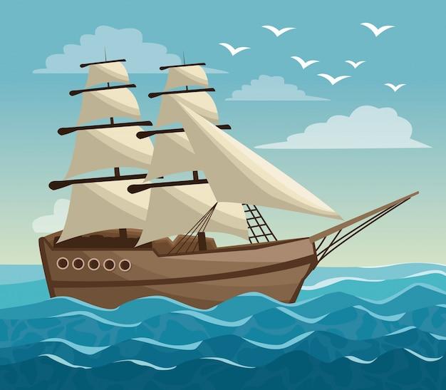 Paesaggio variopinto dell'oceano del cielo del manifesto e barca a vela