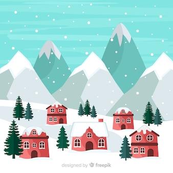 Paesaggio villaggio invernale