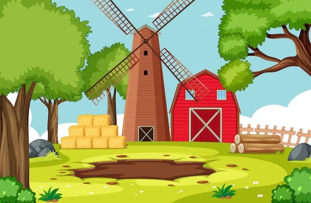 Paesaggio vuoto dell'azienda agricola della natura del fondo