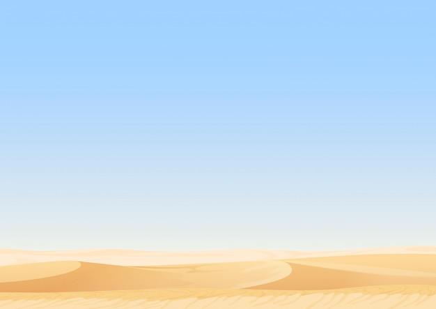 Paesaggio vuoto delle dune del deserto del cielo