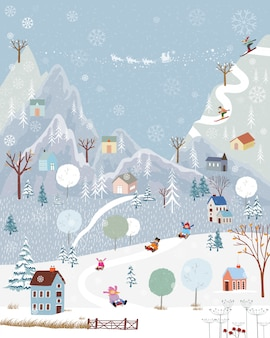 Paese delle meraviglie invernale in campagna con innevamento, felice con i bambini in slitta nel parco invernale e coppia con sci sulla montagna