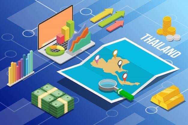Paese di crescita di economia aziendale isometrica della thailandia