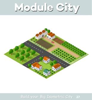 Paese villaggio di case a schiera e case rurali con strade, strade, alberi