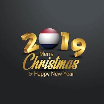Paesi bassi bandiera 2019 tipografia merry christmas