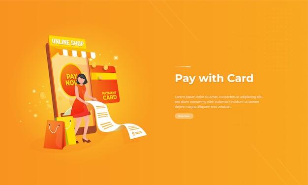 Paga con l'illustrazione della carta per il concetto online di transazioni del negozio