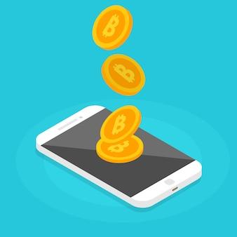 Pagamenti peer to peer. trasferimento di denaro tramite smartphone. transazione di criptovaluta. illustrazione vettoriale