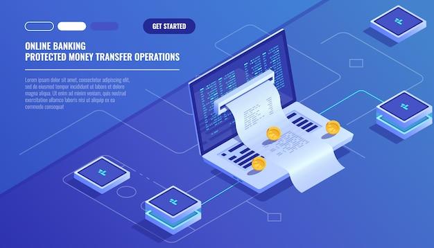 Pagamenti via internet, trasferimento di denaro di protezione, banca online, contabilità di bilancio