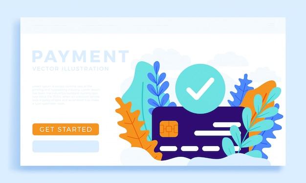 Pagamento accettato illustrazione della carta di credito per landing page o presentazione.