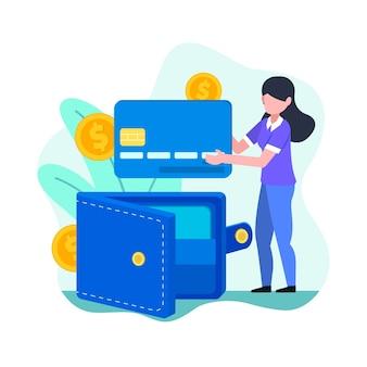 Pagamento con carta di credito concept per landing page
