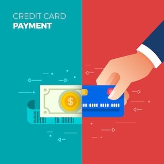 Pagamento concetto di design piatto. metodo di pagamento e opzione o canale per trasferire denaro. il vettore illustra