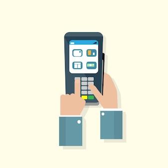 Pagamento della macchina del terminale di bancomat della mano di affari