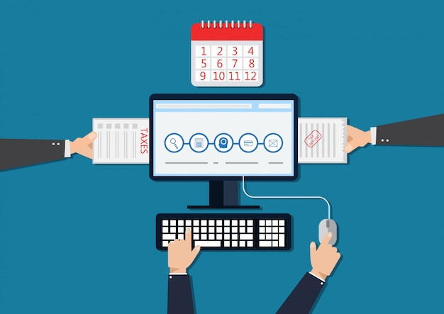 Pagamento delle tasse online. design piatto elements.illustration
